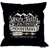 Ducan Lincoln Funda de cojín 2pcs 18X18Inch-Mountain, Cita de Viaje Su fe Puede...
