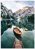 Panorama Póster Lago de Braies Italia 50 x 70 cm - Láminas Decorativas Pared -...