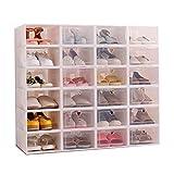 Sinbide 12 x Cajas de Zapatos Plástico, Caja Guardar Zapatos, Calcetines,...