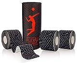 FLEXU Negro Cinta Kinesiológica. Tiras PreCortadas (60 Tiras de 5x25cm)....