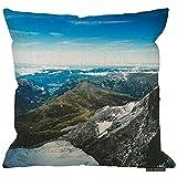 2pcs 18X18Inch-Mountians Funda de almohada, montañas magníficas y cielo azul...